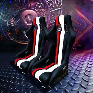 Pair Fixed Bucket Racing Seats W Slide Railers Mounts Black stripes Cloth