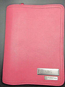 Franklin Covey Leather Compact Planner Organizer Pink rose Zip Personalized arg