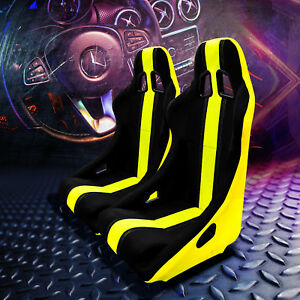 Pair Fixed Bucket Racing Seats W Slider Railers Mounts Black Yellow Suede Cloth