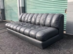 Vintage Mid Century Modern De Sede Ds 600 Style Leather Sofa Couch Danish