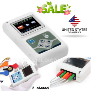 Usa 3 Channel Ecg Holter 24 Hours Dynamic Ekg Analyzer Recorder Monitor Software