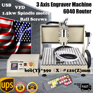 Usb 3 Axis 6040 Cnc Router Engraver 1 5kw Spindle Milling 3d Cutting Carving rc