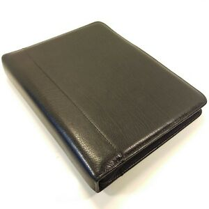 Franklin Quest Covey Classic Black Top Grain Leather Zipper Binder Planner