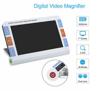 7 Portable Digital Video Magnifier Electronic Reading Aid Av Hd Output 2x 32x