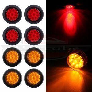 8 Red Amber 2 Round 9 Led Side Marker Clearance Light Trailer Lamp W Grommet