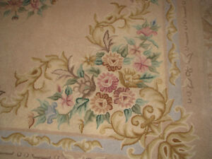 Vintage Hand Hooked Wool Floral Area Rug Made In Japan Clean Pick Up