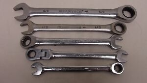 Gearwrench Ratcheting Combination Wrench Set 12 Point Flex Reverse 5 Piece Lot