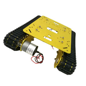 Rc Robot Tank Car Chassis Compatible With Dc 12v Motor Metal Wheel golden