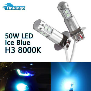 2x H3 8000k Ice Blue Cree 50w High Power Led Fog Light Driving Bulb Drl New Us