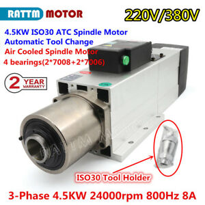 4 5kw Air Cooled Automatic Tool Change 220 380v Atc Spindle Cnc Milling Iso30