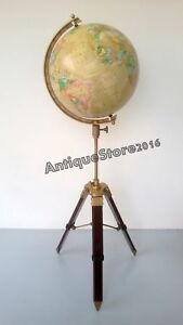 Vintage World Globe With Table Tripod Stand Nautical Authentic Globe Decor Map