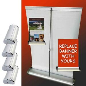 Lot Of 4 Mini Table Top Retractable Tradeshow Display Banner Stand A3 11 5x16 5