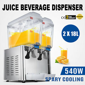 9 5 Gallon Cold Juice Beverage Dispenser Refrigerated Cooler Drinks Two Tank