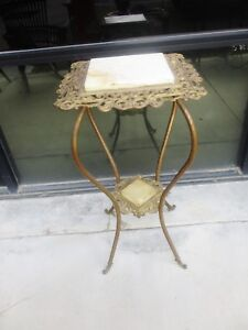 French Victorian Aesthetic Brass Metal W Marble Plantstand Pedestal