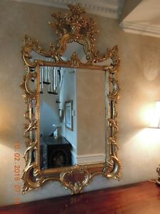 Hand Carved George Ii Reproduction Circa 1755 Gilt Scroll Top Beveled Mirror