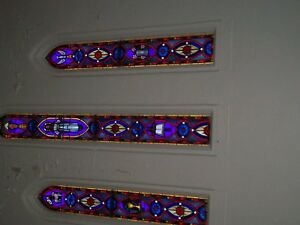 Antique Stain Glass Windows Set Consist Of 1 Large Mid 2 Smaller Side