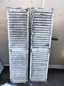 2 Antique House Window Wood Louvered Shutters Shabby Vtg Chic 63 T X 16 W