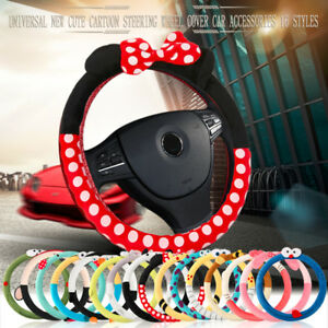 Fashion Car Steering Wheel Cover Minnie Mouse Universal Interior Accessories Set