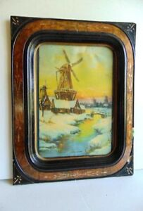 Antique Eastlake Frame Black Ebonized W Original Holland Windmill Print