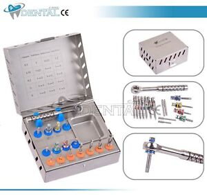 Dental Surgical Drill Kit 16 Pcs Set Implant Instruments Tools Ratchet New