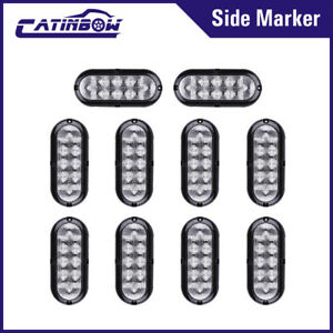 10x 6 10 Led Oval Red Truck Side Marker Indicator Tail Warning Light Clear Lens