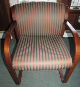 5 Striped Upholstered Office Home Business Wood Framed Arm Chairs