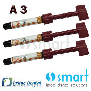 Lot X 3 Dental Parafil Zirconium Composite Universal Restorative A3 Syringes