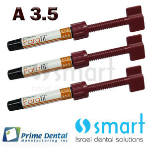 Lot X 3 Dental Parafil Zirconium Composite Universal Restorative A3 5 Syringes