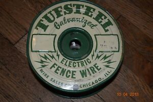 Vintage New Old Stock Full Spool Tuffstuff Galvanized Electric Fence Wire Ranch