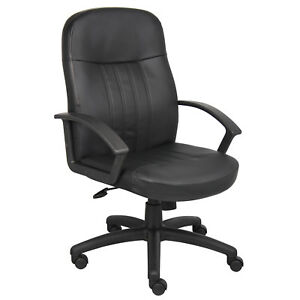 Boss Executive Office High Back Chair With Arms Leather Black Lot Of 1