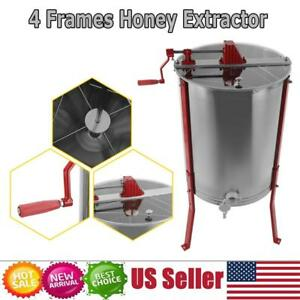 New Large 4 Frame Honey Extractor Manual Beekeeping Equipment Stainless Steel Us