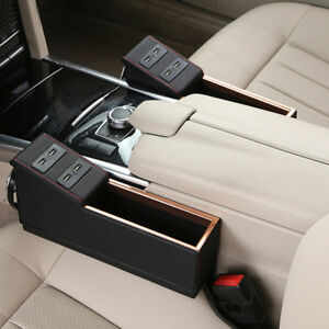 Car Suv Seat Storage Catcher Pu Leather Console Gap Filler Side Cup Holder 4 Usb