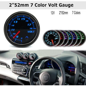 2 52mm Universal Car Auto 7 Color Led Volt Voltmeter Voltage Gauge Meter 12v