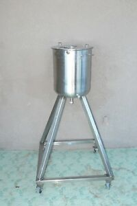 Stainless Steel Jacketed Pressure Vessel Mixing Tank 5 Gallon W Rolling Stand