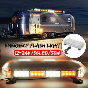 24 56w Led Strobe Light Bar Amber yellow Emergency Beacon Hazard Warning Flash