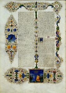 Bible Of Borso D Este Illuminated Manuscript Accented In Gold New Gift Set