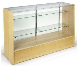 58 Maple Retail Store Counter Display Showcase W Adjustable Glass Shelves