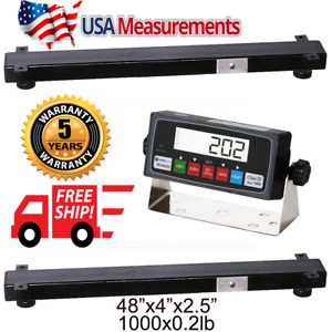 New 1 000lb X 2lb 48 x4 Weigh Bar animal cage Scale indicator usa Calibrated
