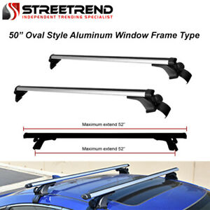 50 Oval Aluminum Silver Roof Rack Cross Bars Carrier Window Frame Universal Sd