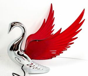 Chrome Swan Hood Ornament Red Lighted Wings Flying Windrider