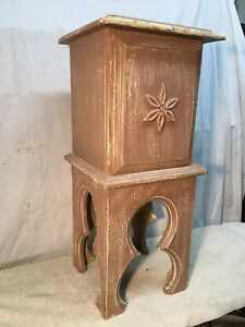 Vintage Tobacco Table Stand Shabby Chippy Paint Wood Smoking Stand