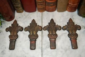 One Antique Pair Fleur De Lis Cast Iron Finials Drapery Architectural Salvage