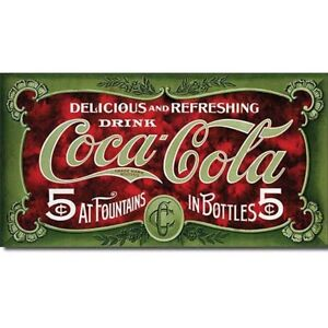 Coca Cola Coke 5 Cent 1900s Advertising Retro Vintage Style Metal Tin Sign New