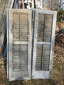 Vtg Pair 1800 S Old Wooden Window Shutters Architectural Salvage 55in X 17 5in