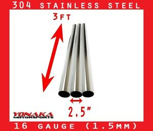 2 5 Stainless Polished Exhaust Straight Pipe Piping Tube 16 Gauge 3 Feet 3 Pack