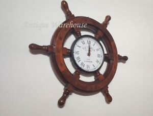 Vintage Wooden Wheel Wall Clock Nautical Working Clock Home Office Decorative