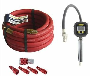 Goodyear Air Hose 12175k Red Rubber Air Hose Fitting And Gauge Kit 3 8 Includes