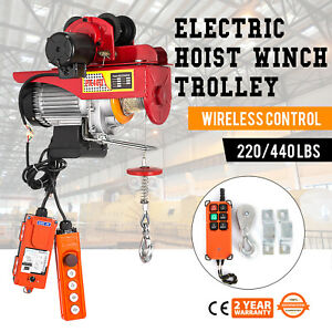 Electric Wire Rope Hoist W Trolley 220lb 440lb 600w Copper Lifting