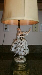 Antique Porcelain Figurine Lamps 2 Male Female
