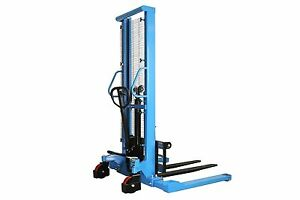Electric Pallet Stacker Manual Straddle Stacker 2200lbs Cap 63 Max Fork Height